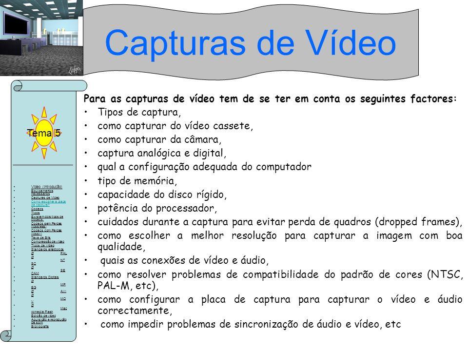 Capturas de Vídeo Tema 5. Para as capturas de vídeo tem de se ter em conta os seguintes factores: Tipos de captura,