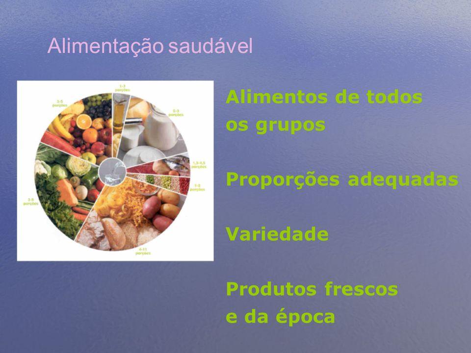 Alimentação saudável Alimentos de todos os grupos Proporções adequadas