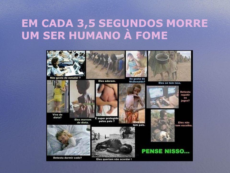 EM CADA 3,5 SEGUNDOS MORRE UM SER HUMANO À FOME
