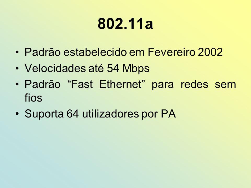 802.11a Padrão estabelecido em Fevereiro 2002 Velocidades até 54 Mbps