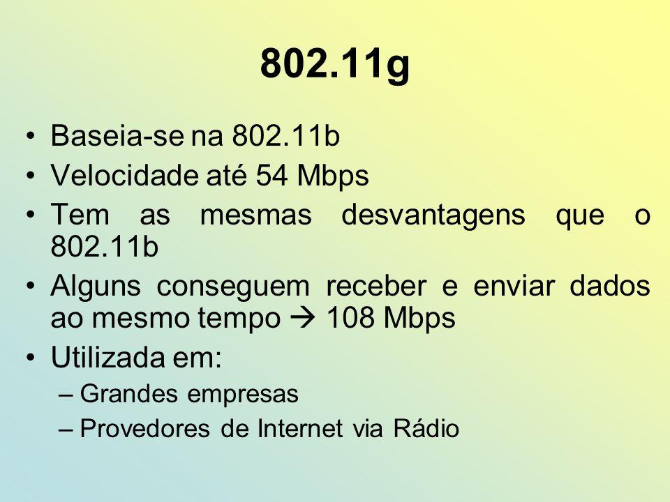 802.11g Baseia-se na 802.11b Velocidade até 54 Mbps