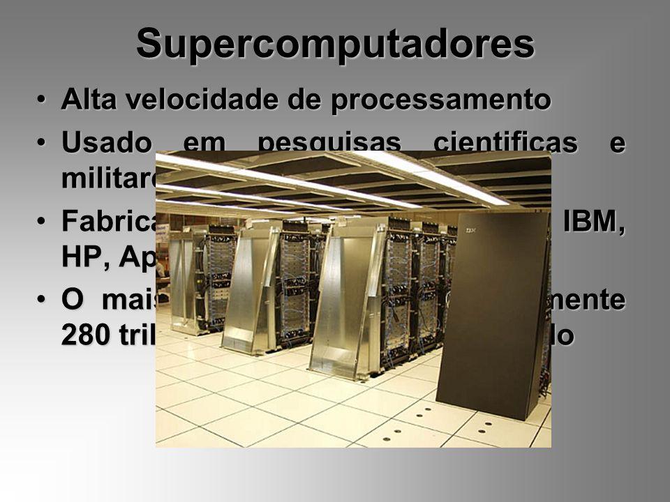 Supercomputadores Alta velocidade de processamento