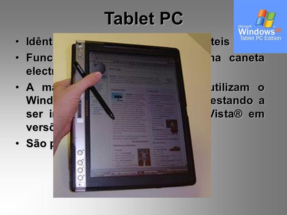 Tablet PC Idênticos aos Computadores Portáteis