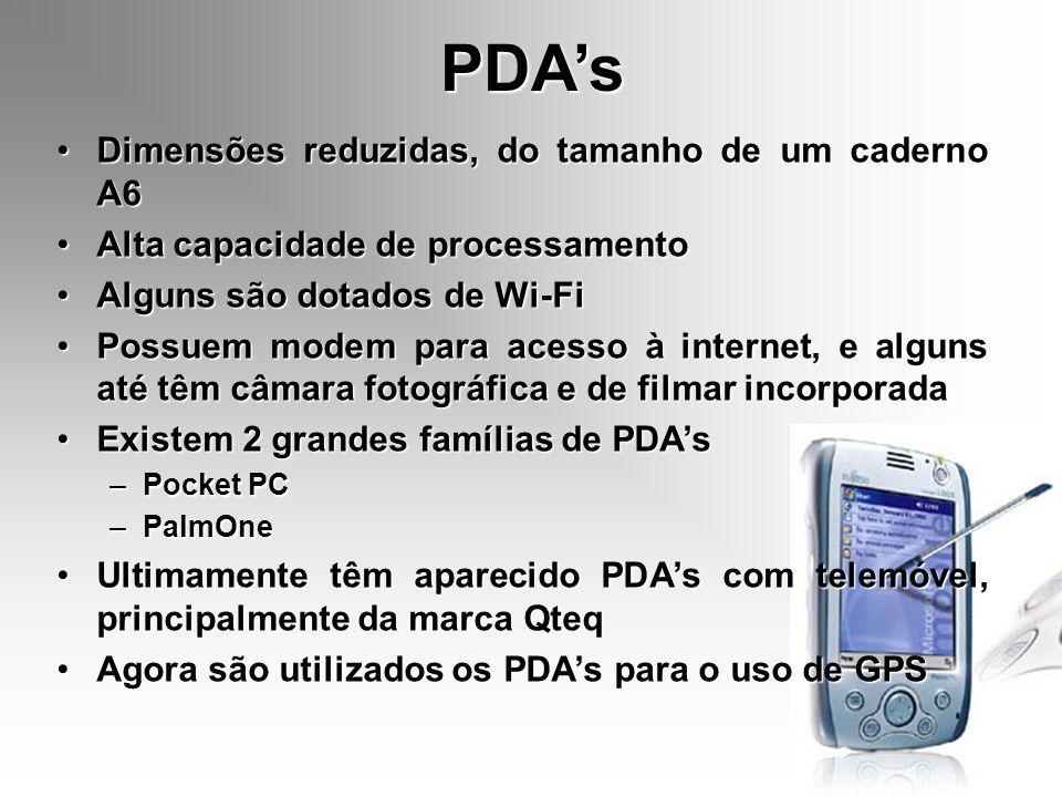 PDA's Dimensões reduzidas, do tamanho de um caderno A6