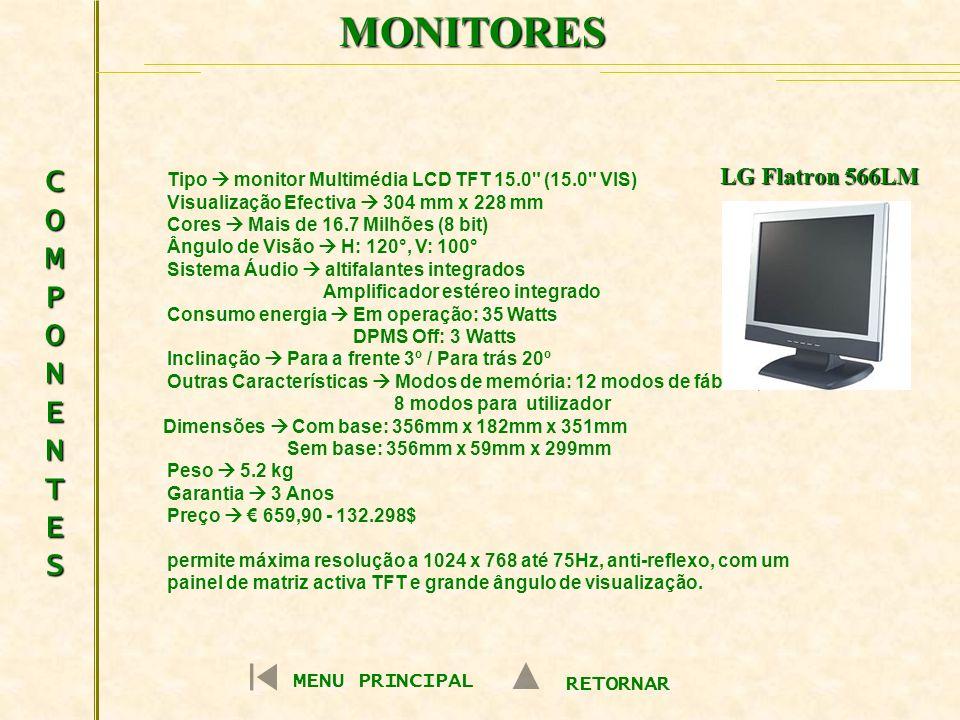 MONITORES COMPONENTES LG Flatron 566LM MENU PRINCIPAL RETORNAR