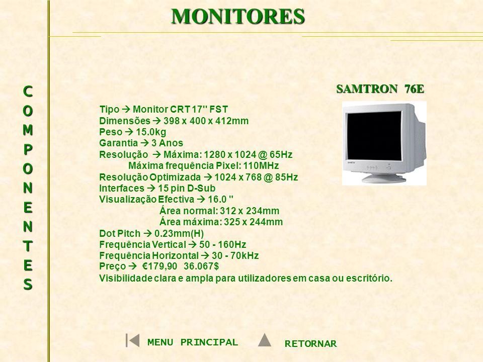 MONITORES COMPONENTES SAMTRON 76E MENU PRINCIPAL RETORNAR