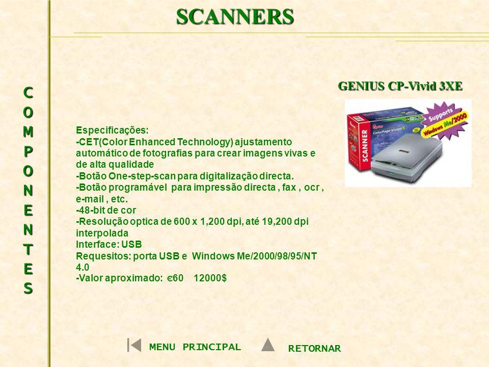 SCANNERS COMPONENTES GENIUS CP-Vivid 3XE MENU PRINCIPAL RETORNAR