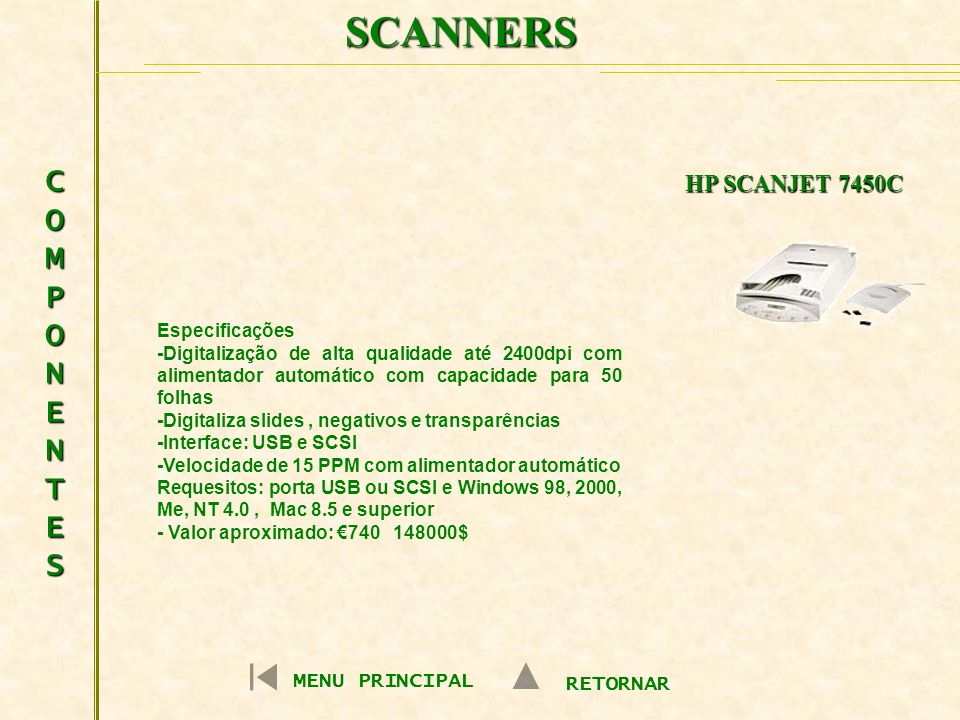 SCANNERS COMPONENTES HP SCANJET 7450C MENU PRINCIPAL RETORNAR