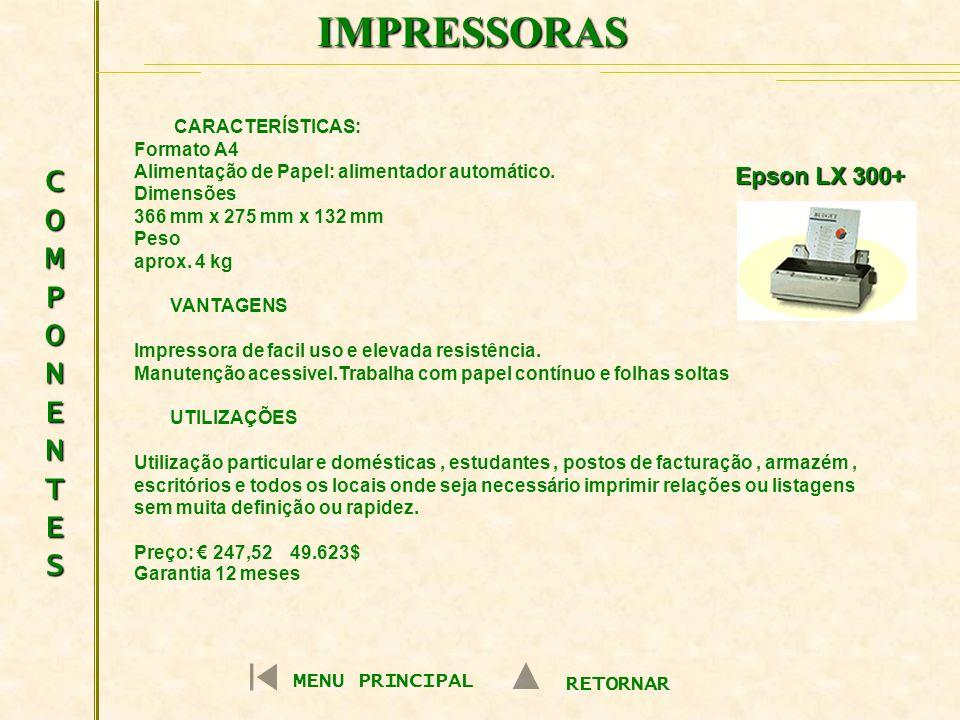 IMPRESSORAS COMPONENTES Epson LX 300+ MENU PRINCIPAL RETORNAR