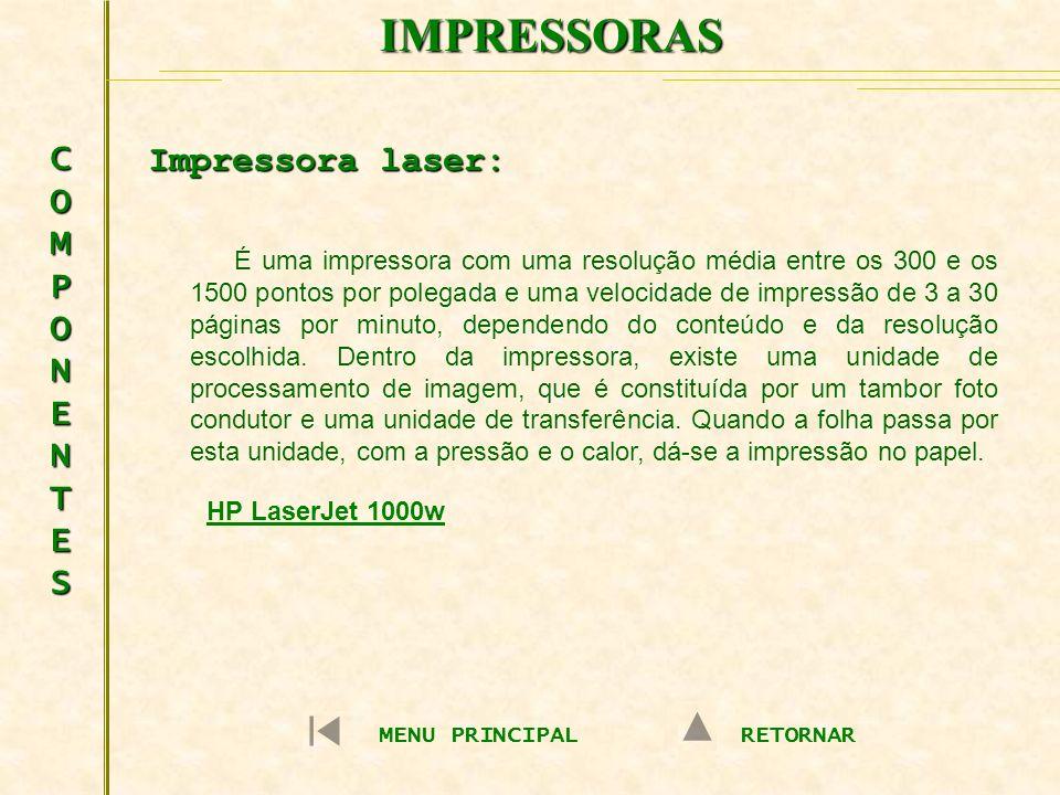 IMPRESSORAS COMPONENTES Impressora laser:
