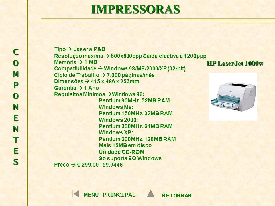 IMPRESSORAS COMPONENTES HP LaserJet 1000w MENU PRINCIPAL RETORNAR