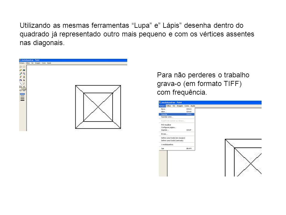 Utilizando as mesmas ferramentas Lupa e Lápis desenha dentro do quadrado já representado outro mais pequeno e com os vértices assentes nas diagonais.