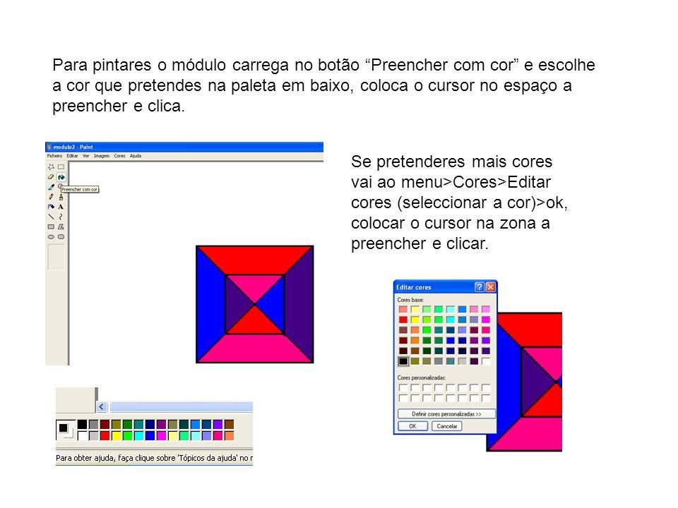Para pintares o módulo carrega no botão Preencher com cor e escolhe a cor que pretendes na paleta em baixo, coloca o cursor no espaço a preencher e clica.