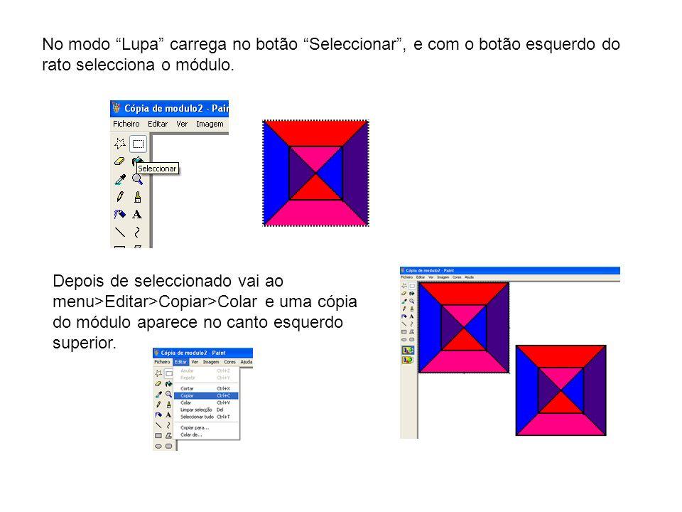 No modo Lupa carrega no botão Seleccionar , e com o botão esquerdo do rato selecciona o módulo.