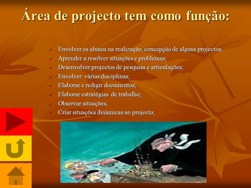 Área de projecto tem como função:
