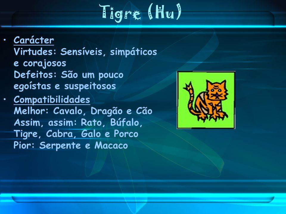 Tigre (Hu)Carácter Virtudes: Sensíveis, simpáticos e corajosos Defeitos: São um pouco egoístas e suspeitosos.