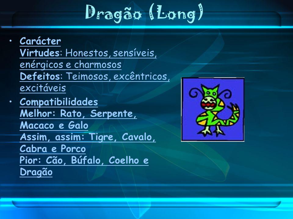 Dragão (Long) Carácter Virtudes: Honestos, sensíveis, enérgicos e charmosos Defeitos: Teimosos, excêntricos, excitáveis.