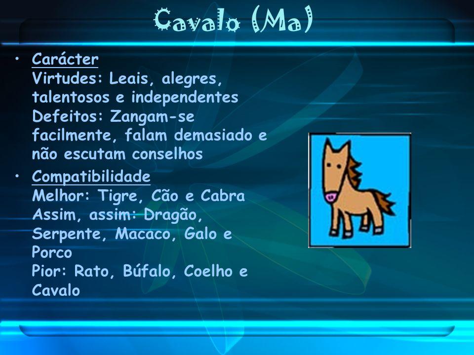 Cavalo (Ma) Carácter Virtudes: Leais, alegres, talentosos e independentes Defeitos: Zangam-se facilmente, falam demasiado e não escutam conselhos.