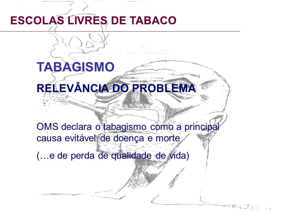 TABAGISMO ESCOLAS LIVRES DE TABACO RELEVÂNCIA DO PROBLEMA