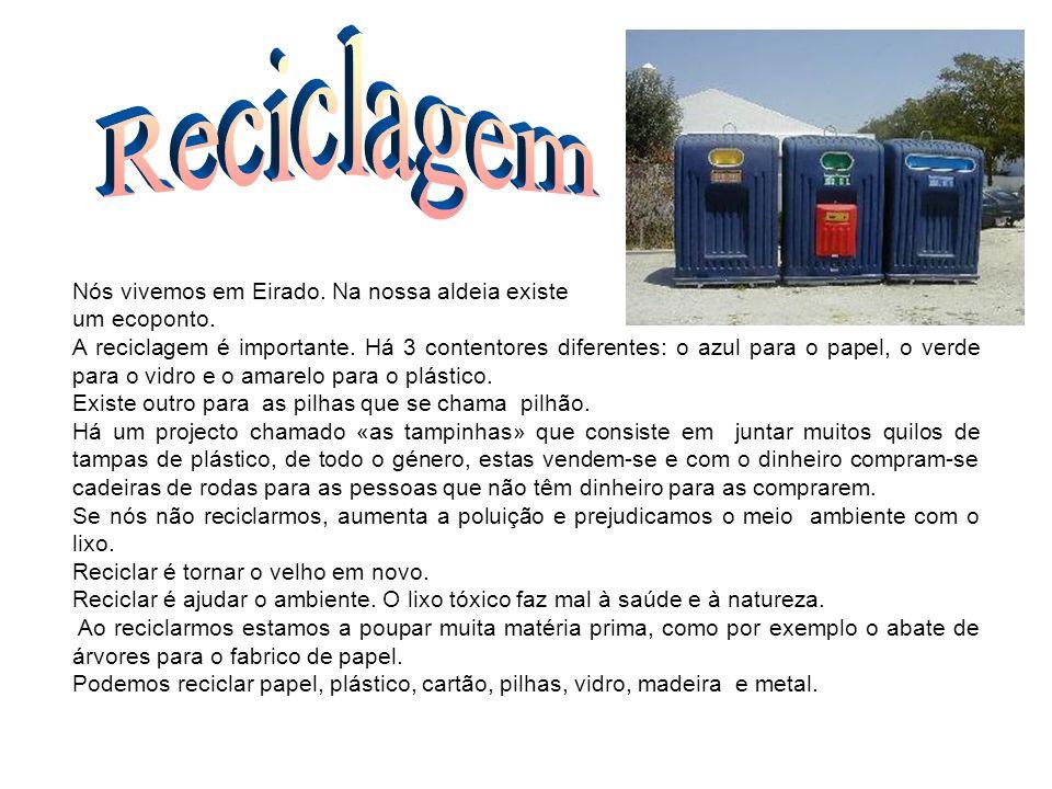 Reciclagem Nós vivemos em Eirado. Na nossa aldeia existe um ecoponto.