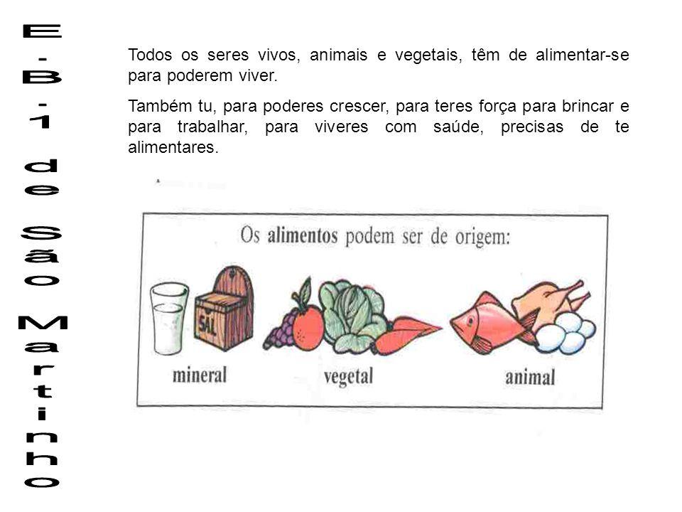 Todos os seres vivos, animais e vegetais, têm de alimentar-se para poderem viver.