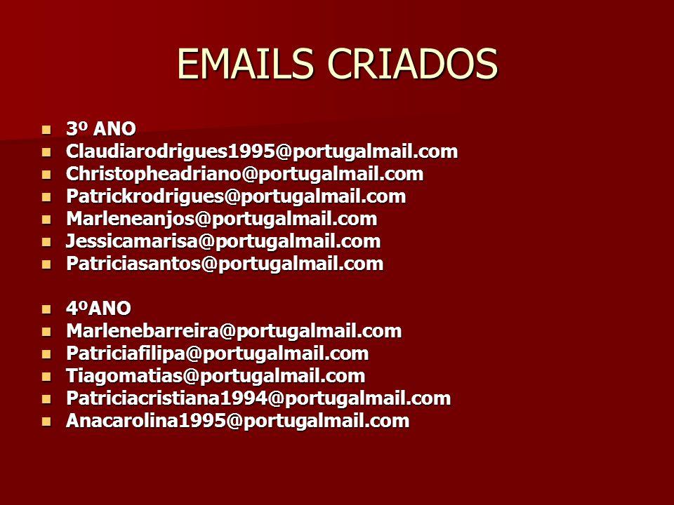 EMAILS CRIADOS 3º ANO Claudiarodrigues1995@portugalmail.com