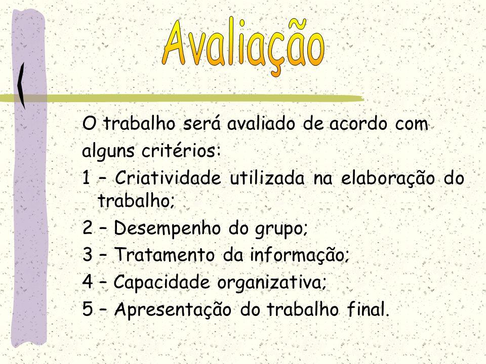 Avaliação O trabalho será avaliado de acordo com alguns critérios:
