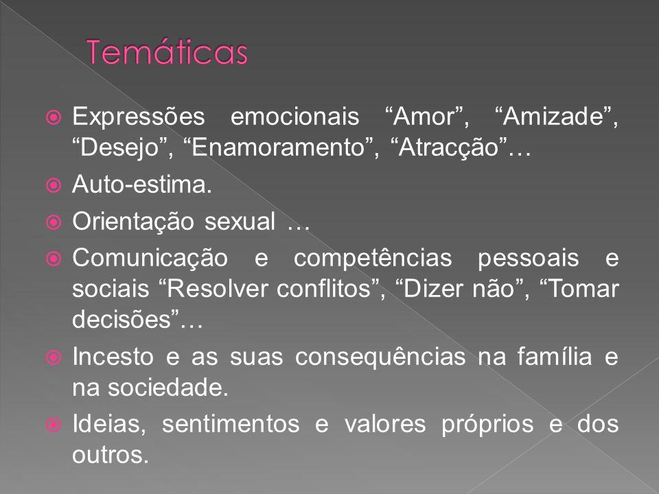 Temáticas Expressões emocionais Amor , Amizade , Desejo , Enamoramento , Atracção … Auto-estima.
