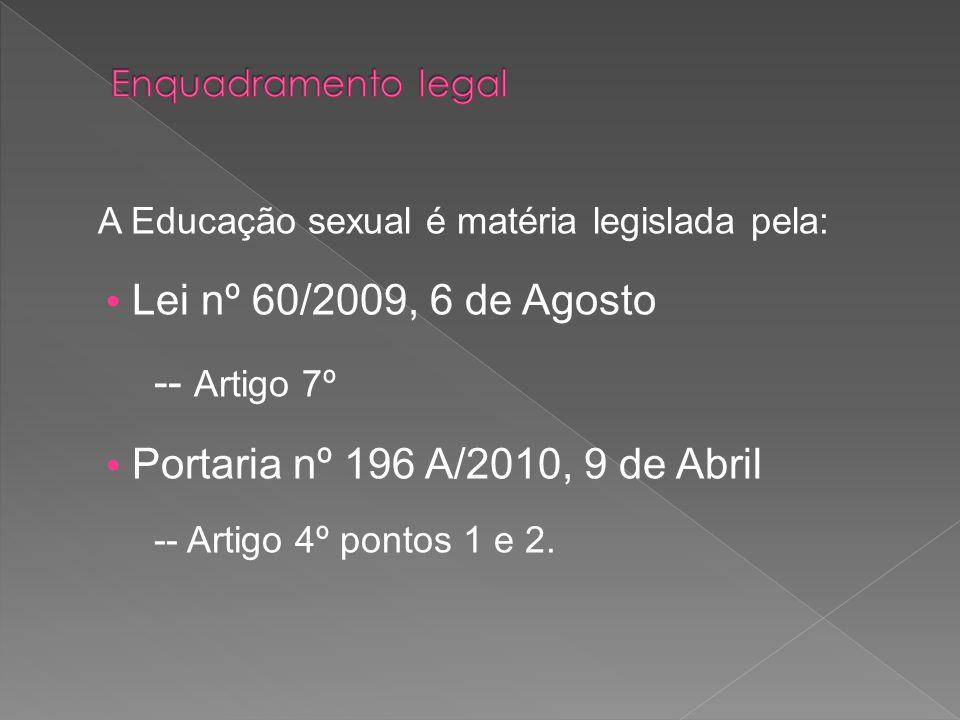 -- Artigo 7º A Educação sexual é matéria legislada pela:
