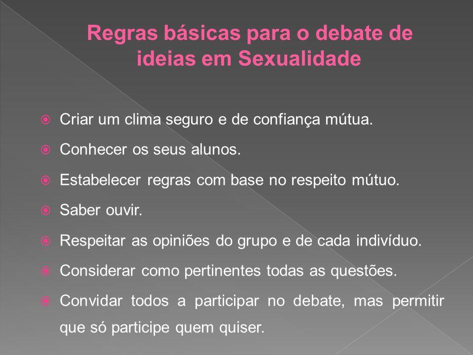 Regras básicas para o debate de ideias em Sexualidade
