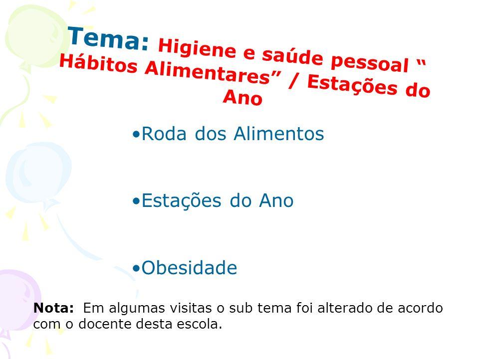 Tema: Higiene e saúde pessoal Hábitos Alimentares / Estações do Ano