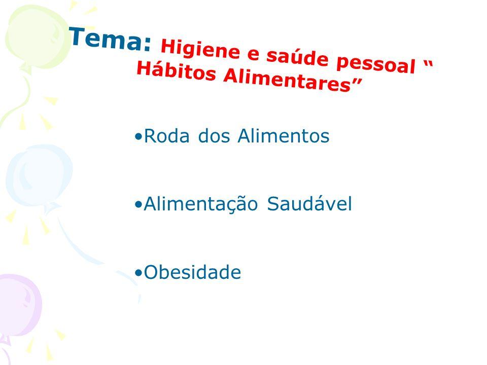 Tema: Higiene e saúde pessoal Hábitos Alimentares