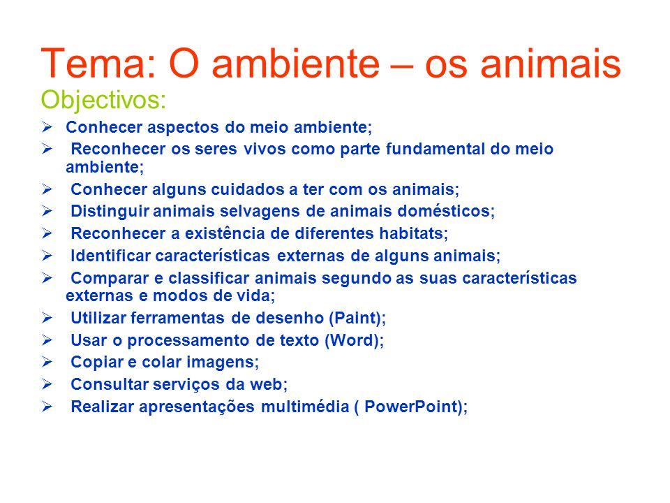 Tema: O ambiente – os animais