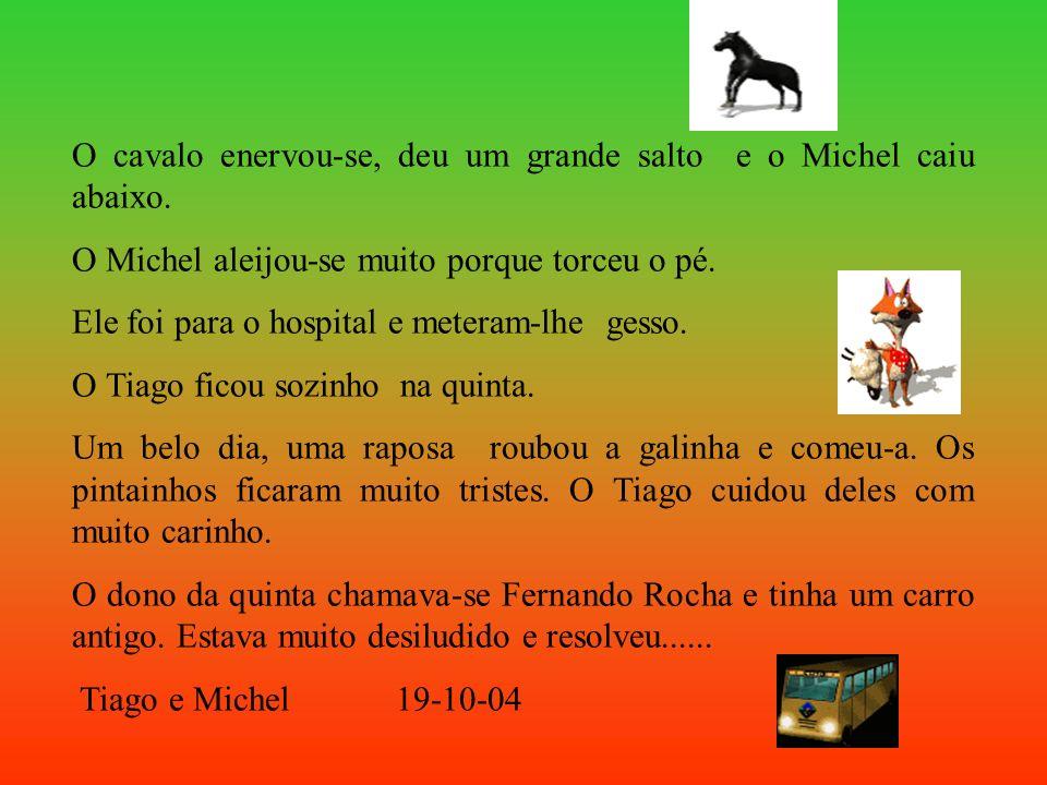 O cavalo enervou-se, deu um grande salto e o Michel caiu abaixo.