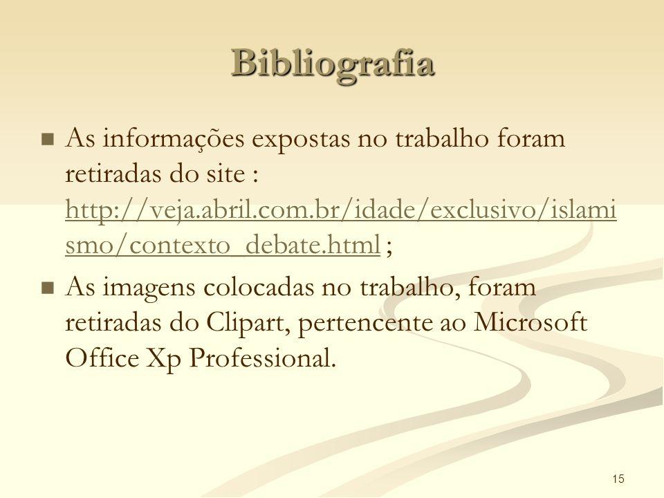 Bibliografia As informações expostas no trabalho foram retiradas do site : http://veja.abril.com.br/idade/exclusivo/islamismo/contexto_debate.html ;