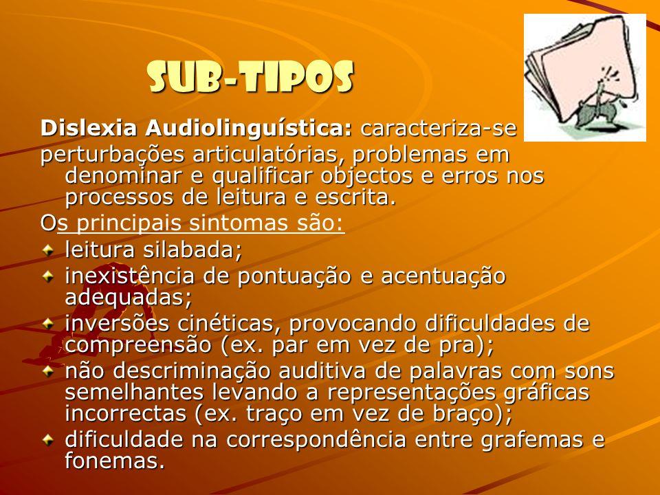 Sub-Tipos Dislexia Audiolinguística: caracteriza-se por