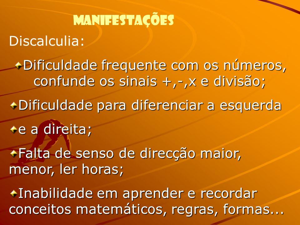 Discalculia: Dificuldade frequente com os números, confunde os sinais +,-,x e divisão; Dificuldade para diferenciar a esquerda.
