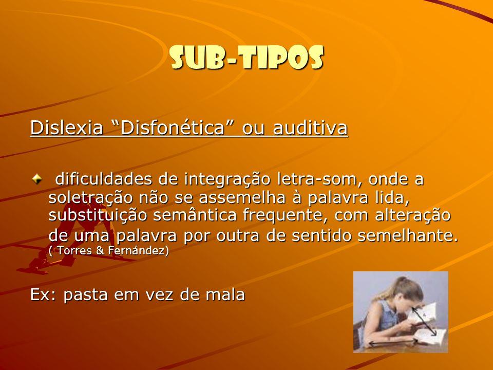 Sub-Tipos Dislexia Disfonética ou auditiva
