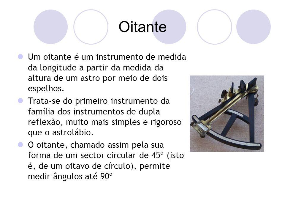 Oitante Um oitante é um instrumento de medida da longitude a partir da medida da altura de um astro por meio de dois espelhos.