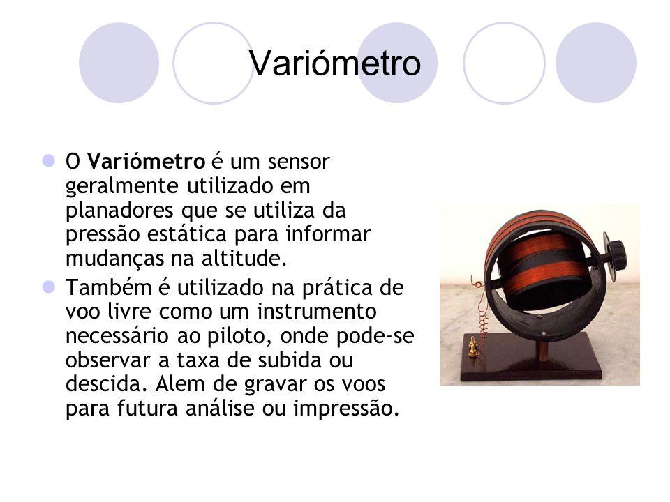 Variómetro O Variómetro é um sensor geralmente utilizado em planadores que se utiliza da pressão estática para informar mudanças na altitude.