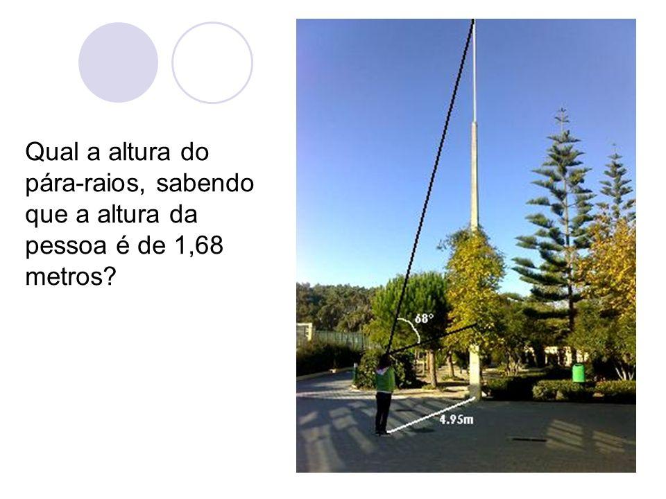 Qual a altura do pára-raios, sabendo que a altura da pessoa é de 1,68 metros