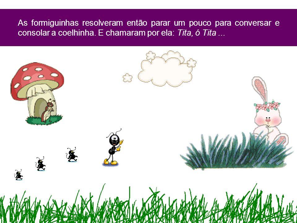 As formiguinhas resolveram então parar um pouco para conversar e consolar a coelhinha.
