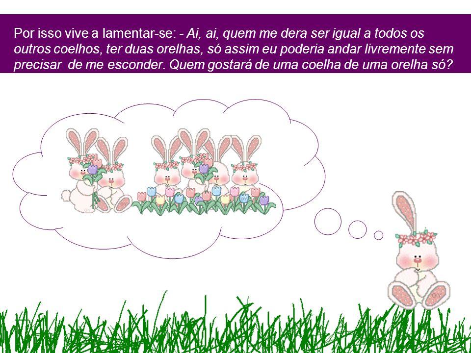 Por isso vive a lamentar-se: - Ai, ai, quem me dera ser igual a todos os outros coelhos, ter duas orelhas, só assim eu poderia andar livremente sem precisar de me esconder.