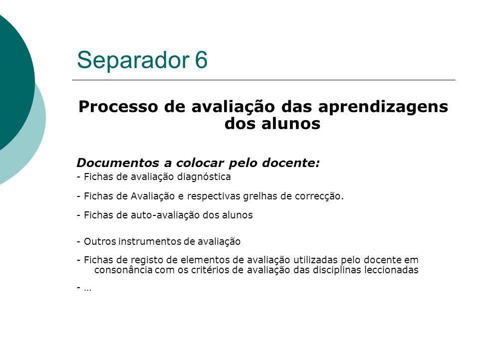 Processo de avaliação das aprendizagens dos alunos