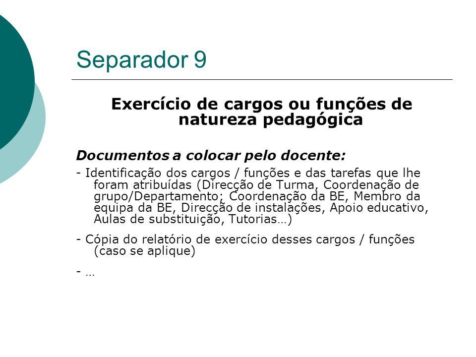 Exercício de cargos ou funções de natureza pedagógica