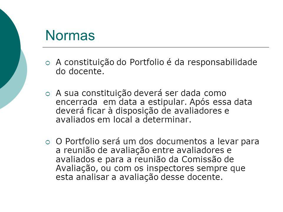 Normas A constituição do Portfolio é da responsabilidade do docente.