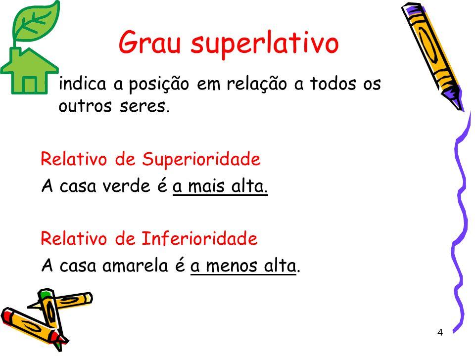 Grau superlativo indica a posição em relação a todos os outros seres.