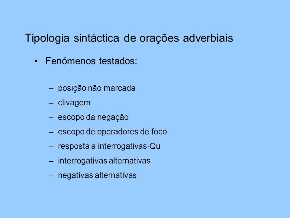 Tipologia sintáctica de orações adverbiais