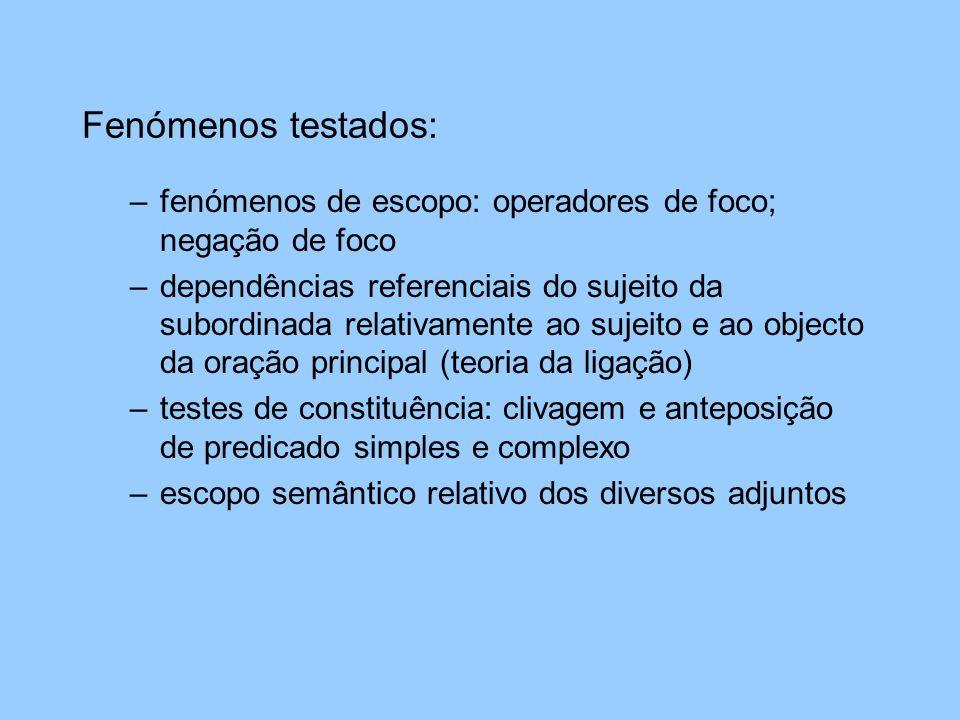 Fenómenos testados:fenómenos de escopo: operadores de foco; negação de foco.