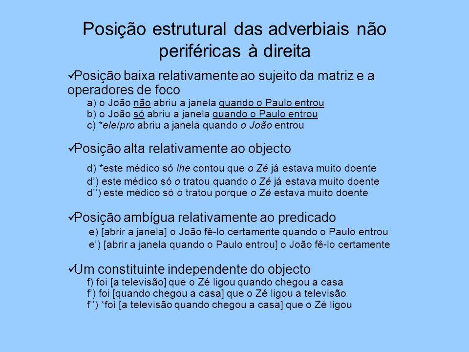 Posição estrutural das adverbiais não periféricas à direita
